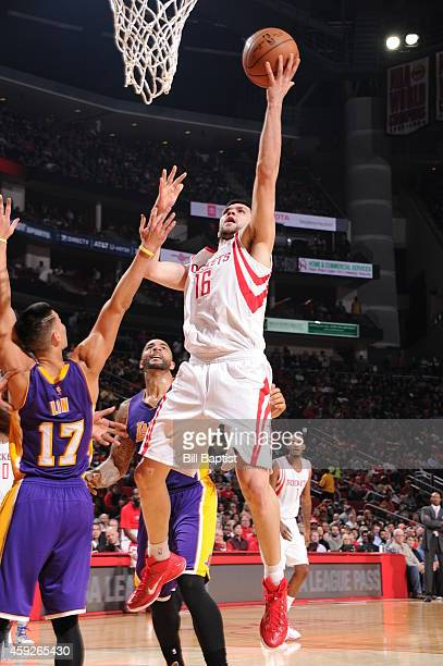 Kostas Papanikolaou of the Houston Rockets goes to the basket against the Los Angeles Lakers on November 19 2014 at the Toyota Center in Houston...