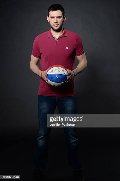 Kostas Papanikolaou of the Houston Rockets poses for portraits during the NBAE Circuit as part of 2015 AllStar Weekend at the Sheraton Times Square...