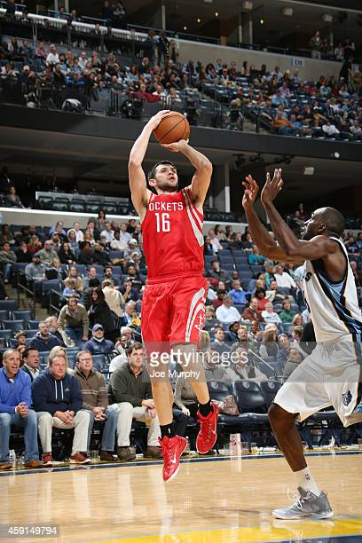 Kostas Papanikolaou of the Houston Rockets shoots against the Memphis Grizzlies during the game on November 17 2014 at FedExForum in Memphis...