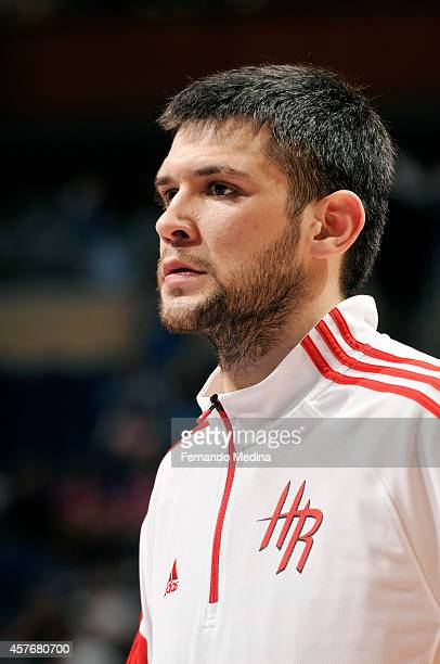 Kostas Papanikolaou of the Houston Rockets warms up during a game against the Orlando Magic on October 22 2014 at Amway Center in Orlando Florida...