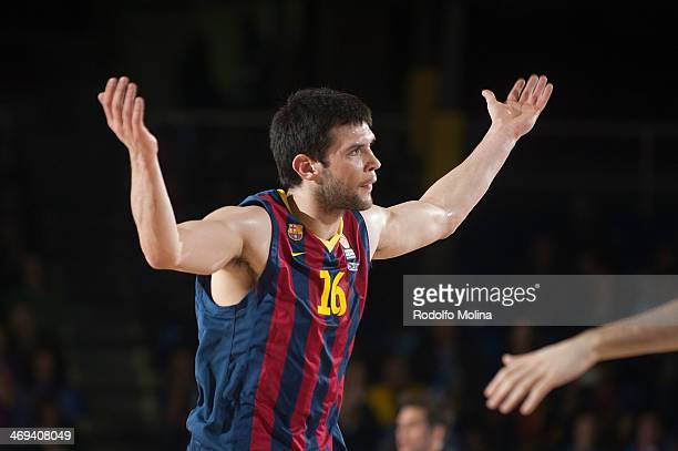 Kostas Papanikolau #16 of FC Barcelona celebrates after scoring during the 20132014 Turkish Airlines Euroleague Top 16 Date 6 game between FC...