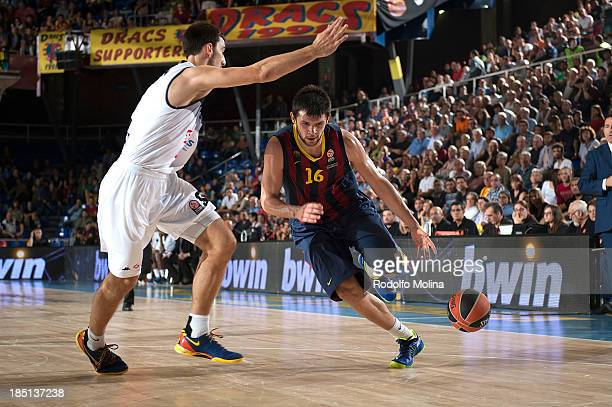Kostas Papanikolau #16 of FC Barcelona in action during the 20132014 Turkish Airlines Euroleague Regular Season date 1 game between FC Barcelona...