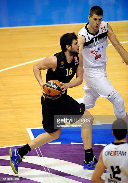 Kostas Papanikolau #16 of FC Barcelona in action during the 20132014 Turkish Airlines Euroleague Regular Season Date 6 game between Partizan NIS...