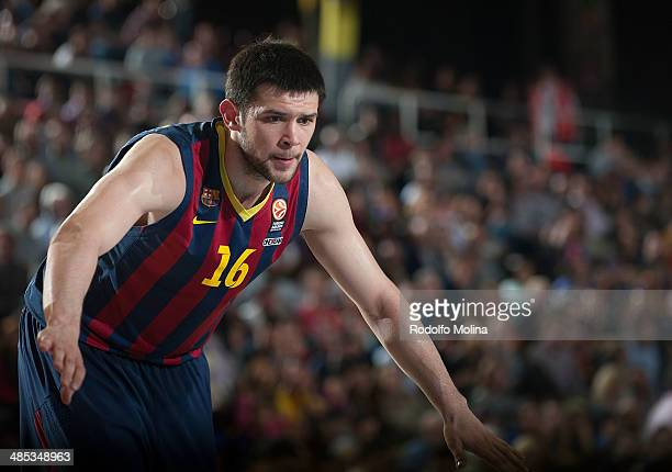 Kostas Papanikolau #16 of FC Barcelona in action during the Turkish Airlines Euroleague Basketball Play Off Game 2 between FC Barcelona Regal v...