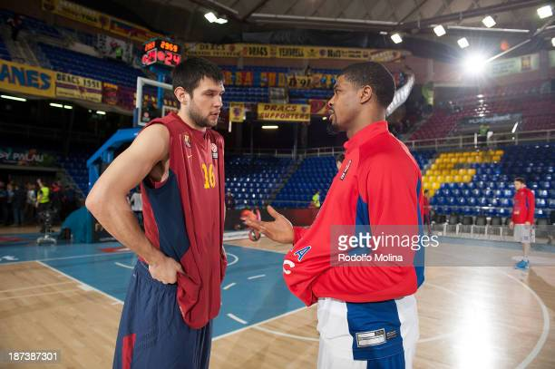 Kostas Papanikolau #16 of FC Barcelona talking to Kyle Hines #42 of CSKA Moscow before the 20132014 Turkish Airlines Euroleague Regular Season Date 4...