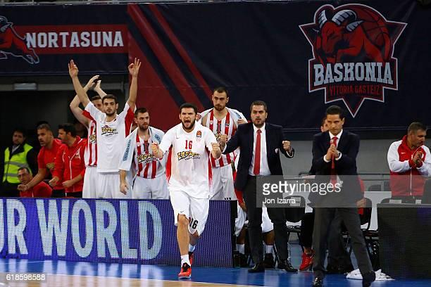 Kostas Papanikolau#16 of Olympiacos Piraeus in action during the 2016/2017 Turkish Airlines EuroLeague Regular Season Round 4 game between Baskonia...