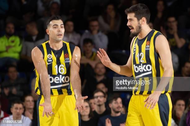 Kostas Sloukas #16 and Nikola Kalinic #12 of Fenerbahce Beko Istanbul during the 2019/2020 Turkish Airlines EuroLeague Regular Season Round 9 match...