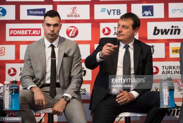 Kostas Sloukas #16 of Fenerbahce Beko Istanbul and Ergin Ataman Head Coach of Anadolu Efes Istanbul during the Turkish Airlines EuroLeague Final Four...