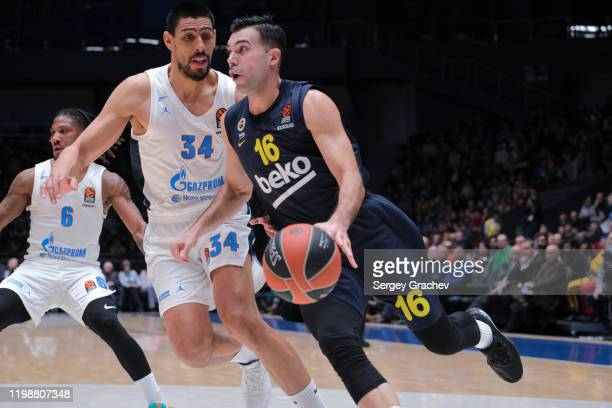 Kostas Sloukas #16 of Fenerbahce Beko Istanbul compete with Gustavo Ayon #34 of Zenit St Petersburg during the 2019/2020 Turkish Airlines EuroLeague...