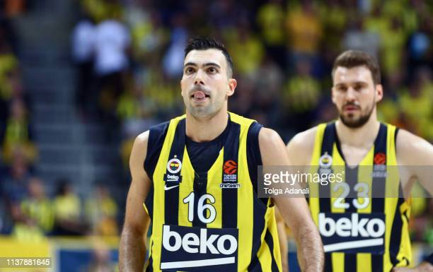 Kostas Sloukas #16 of Fenerbahce Beko Istanbul in action during the Turkish Airlines EuroLeague Play Off game 2 between Fenerbahce Beko Istanbul v...