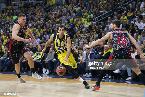 Kostas Sloukas #16 of Fenerbahce Beko Istanbul in action during the 2019/2020 Turkish Airlines EuroLeague Regular Season Round 21 match between...