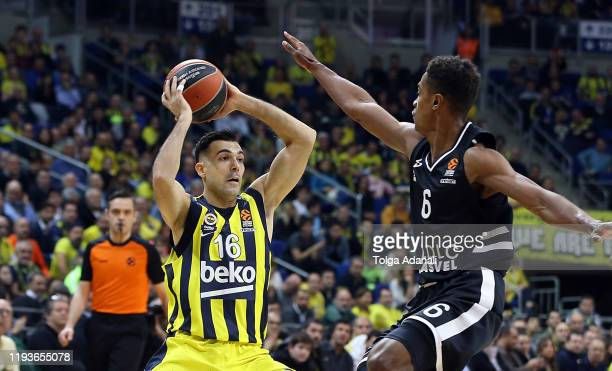 Kostas Sloukas #16 of Fenerbahce Beko Istanbul in action with Theo Maledon #6 of LDLC Asvel Villeurbanne during the 2019/2020 Turkish Airlines...