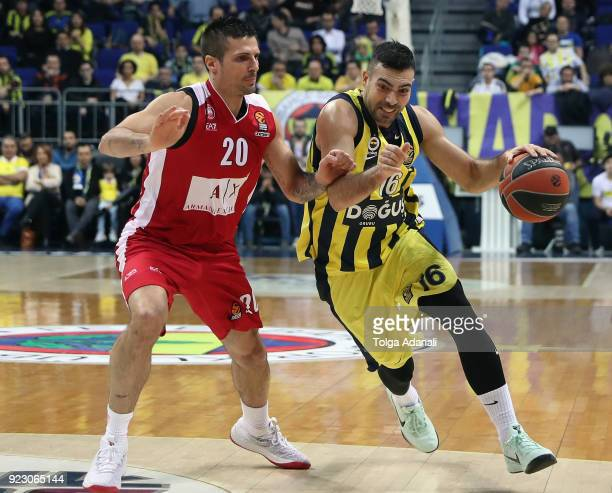Kostas Sloukas #16 of Fenerbahce Dogus in action with Andrea Cianciarini #20 of AX Armani Exchange Olimpia Milan during the 2017/2018 Turkish...