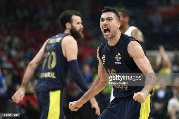 Kostas Sloukas #16 of Fenerbahce Dogus Istanbul celebrates during the 2018 Turkish Airlines EuroLeague F4 Third Place Game between CSKA Moscow v...