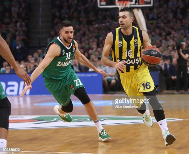 Kostas Sloukas #16 of Fenerbahce Dogus Istanbul competes with Vasilije Micic #22 of Zalgiris Kaunas in action during the 2017/2018 Turkish Airlines...