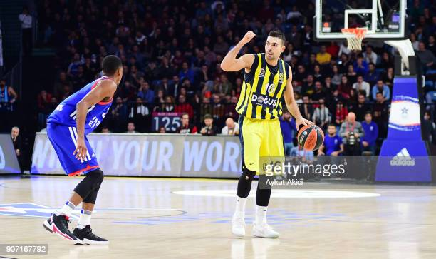 Kostas Sloukas #16 of Fenerbahce Dogus Istanbul in action during the 2017/2018 Turkish Airlines EuroLeague Regular Season Round 19 game between...