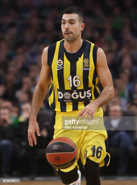 Kostas Sloukas #16 of Fenerbahce Dogus Istanbul in action during the 2017/2018 Turkish Airlines EuroLeague Regular Season Round 25 game between...