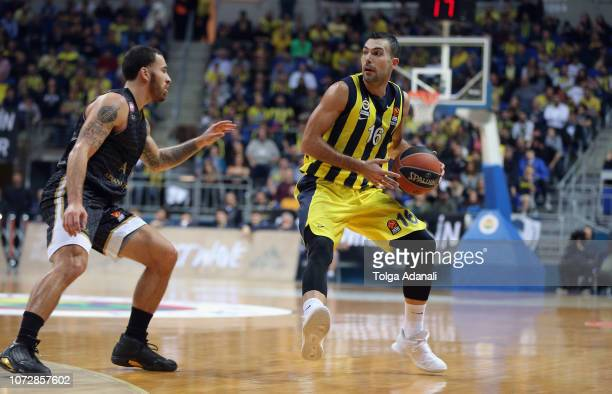 Kostas Sloukas #16 of Fenerbahce Istanbul in action with Mike James #2 of AX Armani Exchange Olimpia Milan during the 2018/2019 Turkish Airlines...