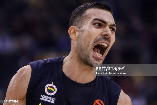 Kostas Sloukas #16 of Fenerbahce Istanbul react during the 2018/2019 Turkish Airlines EuroLeague Regular Season Round 7 game between Olympiacos...