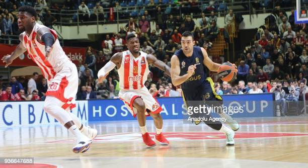 Kostas Sloukas of Fenerbahce Dogus in action against Dylan Ennis of Crvena Zvezda during the Turkish Airlines Euroleague week 28 basketball match...
