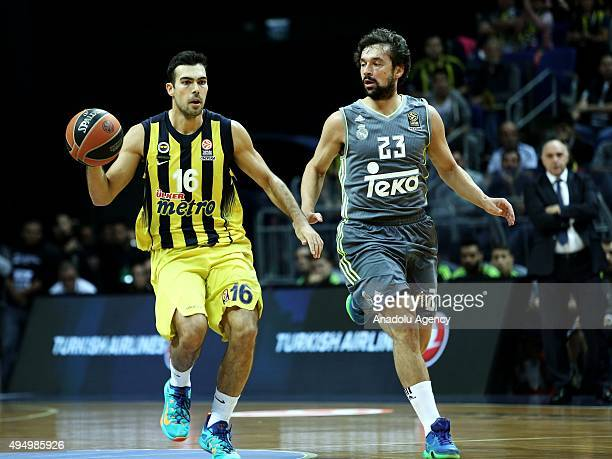 Kostas Sloukas of Fenerbahce is in action against Sergio Llull of Real Madrid during the Turkish Airlines Euroleague's match of Group A at Ulker...