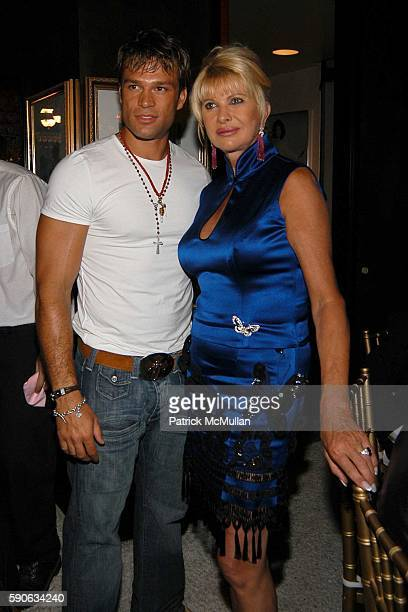 Kostas Sommer and Ivana Trump attend An Evening with Ivana Trump hosted by Nikki Haskell at Nikki Haskell's Penthouse on July 19 2005 in Beverly...