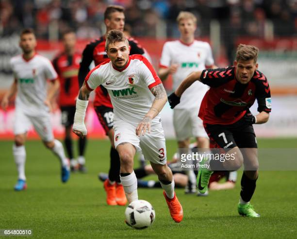 Kostas Stafylidis of Augsburg in action during the Bundesliga match between FC Augsburg and SC Freiburg at WWK Arena on March 18 2017 in Augsburg...