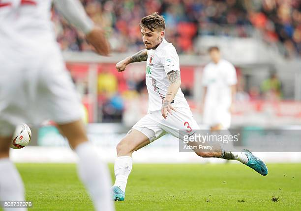 Kostas Stafylidis of Augsburg scores a goal during the Bundesliga match between FC Ingolstadt and FC Augsburg at Audi Sportpark on February 6 2016 in...