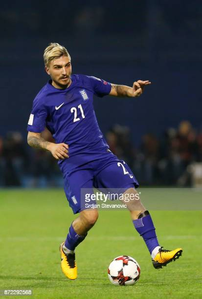 Kostas Stafylidis of Greece during the FIFA 2018 World Cup Qualifier PlayOff First Leg between Croatia and Greece at Stadion Maksimir on November 9...
