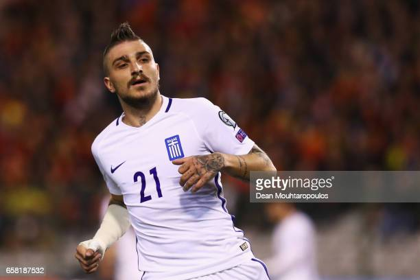 Kostas Stafylidis of Greece in action during the FIFA 2018 World Cup Group H Qualifier match between Belgium and Greece at Stade Roi Baudouis on...