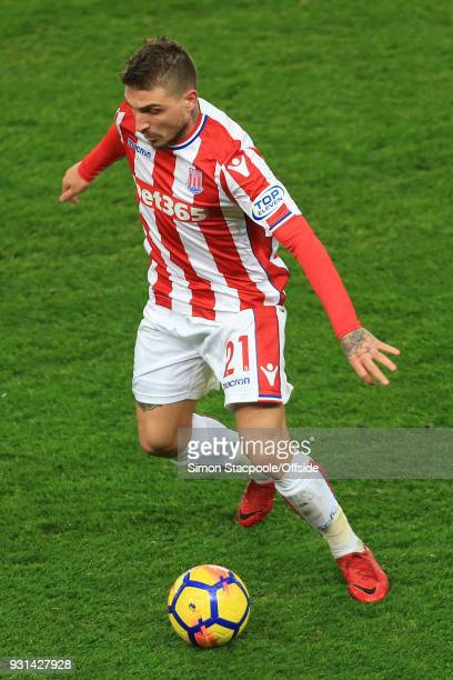 Kostas Stafylidis of Stoke in action during the Premier League match between Stoke City and Manchester City at the Bet365 Stadium on March 12 2018 in...