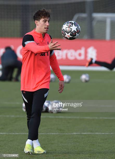 Kostas Tsimikas of Liverpool during a training session at AXA Training Centre on April 13, 2021 in Kirkby, England.