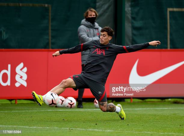 Kostas Tsimikas of Liverpool during a training session at Melwood Training Ground on September 26, 2020 in Liverpool, England.