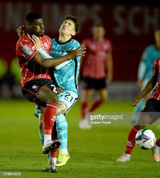Kostas Tsimikas of Liverpool During the Carabao Cup third round match between Lincoln City and Liverpool at Sincil Bank Stadium on September 24, 2020...