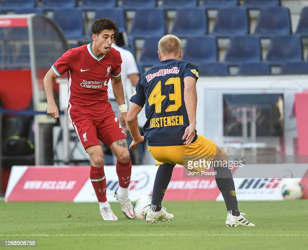 Kostas Tsimikas of Liverpool in action during the pre-season friendly match between Liverpool and Salzburg at The Red Bull Stadium on August 25, 2020...