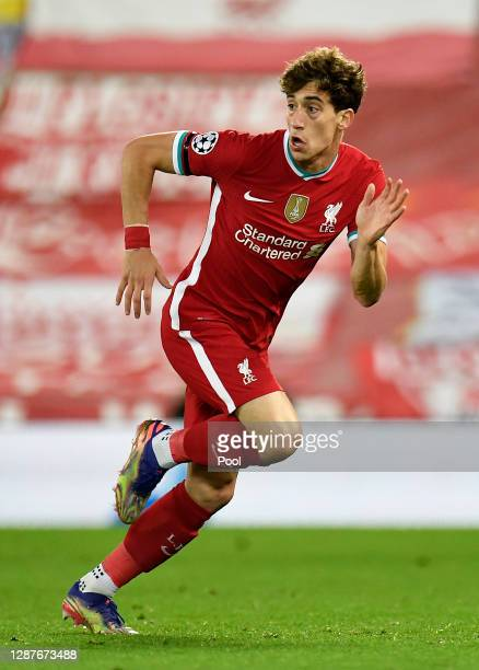 Kostas Tsimikas of Liverpool in action during the UEFA Champions League Group D stage match between Liverpool FC and Atalanta BC at Anfield on...