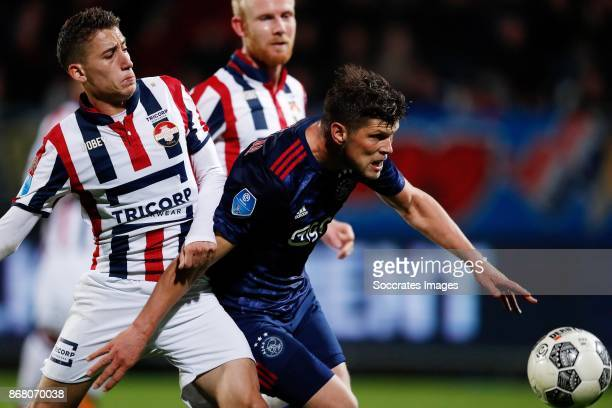Kostas Tsimikas of Willem II Klaas Jan Huntelaar of Ajax during the Dutch Eredivisie match between Willem II v Ajax at the Koning Willem II Stadium...