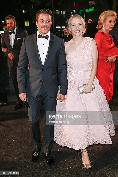 Kostja Ullmann and Janin Reinhardt arrive at the Bambi Awards 2014 on November 13 2014 in Berlin Germany