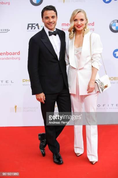 Kostja Ullmann and Janin Ullmann attend the Lola German Film Award red carpet at Messe Berlin on April 27 2018 in Berlin Germany
