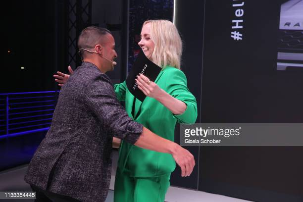 Kostja Ullmann and Janin Ullmann during the presentation of the new Range Rover Evoque at Berlin Bridge Studios on March 28 2019 in Berlin Germany