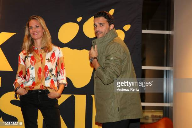 Kostja Ullmann and Marie Burchard attend the meet and greet at Jack Wolfskin flagship store prior to the movie premiere of 'Wuff' on October 22 2018...
