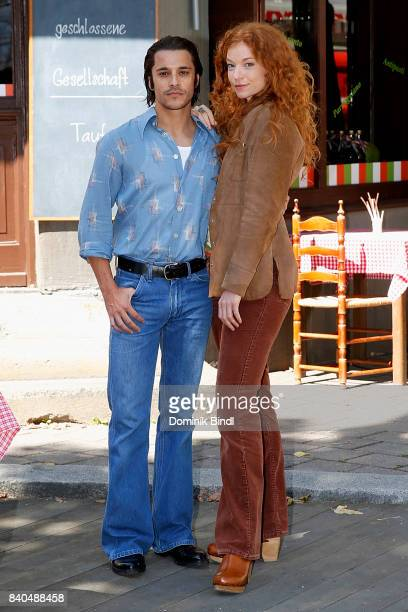 Kostja Ullmann and Marleen Lohse poses during the set visit of the ZDF show 'Bella Germania' on August 29 2017 in Munich Germany