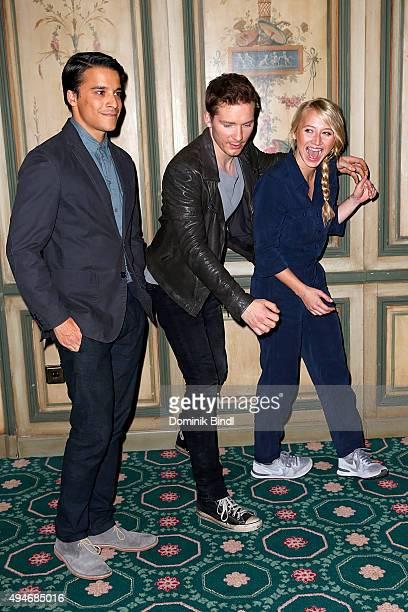 Kostja Ullmann Jacob Matschenz and Anna Maria Muehe attend the on set photocall for the film 'Mein Blind Date mit dem Leben' at Hotel Bayerischer Hof...