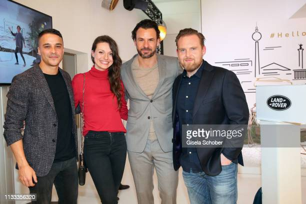 Kostja Ullmann Julia Hartmann Stephan Luca and Axel Stein during the presentation of the new Range Rover Evoque at Berlin Bridge Studios on March 28...