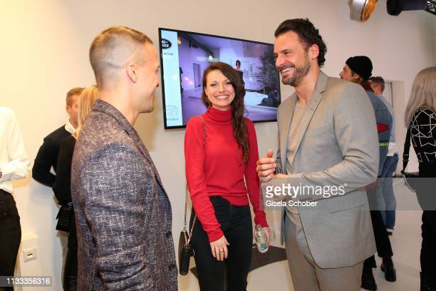 Kostja Ullmann Julia Hartmann Stephan Luca during the presentation of the new Range Rover Evoque at Berlin Bridge Studios on March 28 2019 in Berlin...