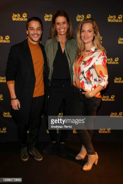 Kostja Ullmann Kerstin Pooth and Marie Burchard attend the meet and greet at Jack Wolfskin flagship store prior to the movie premiere of 'Wuff' on...