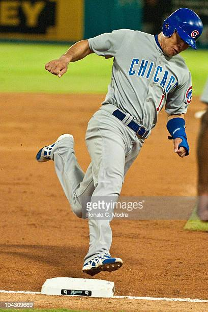 Kosuke Fukudome of the Chicago Cubs runs to third base during a MLB game against the Florida Marlins at Sun Life Stadium on September 17 2010 in...