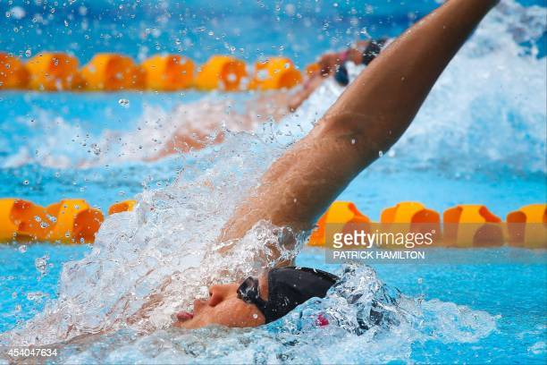 Kosuke Hagino of Japan competes during the Men's 200 m Individual Medley heat at the Gold Coast Aquatic Centre Gold Coast on August 24 2014 The Pan...