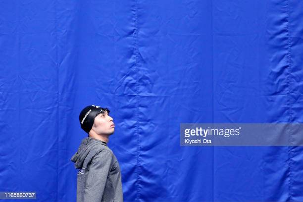 Kosuke Hagino of Japan enters prior to competing in the Men's 200m Individual Medley Final on day two of the FINA Swimming World Cup Tokyo at the...