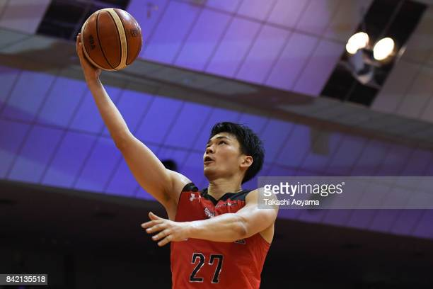 Kosuke Ishii of the Chiba Jets lays the ball up during the B.League Kanto Early Cup final between Alvark Tokyo and Chiba Jets at Funabashi Arena on...